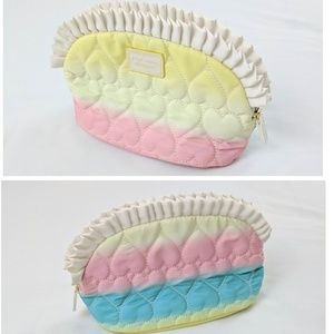 Betsey Johnson Rainbow Quilted Ruffle Cosmetic Bag